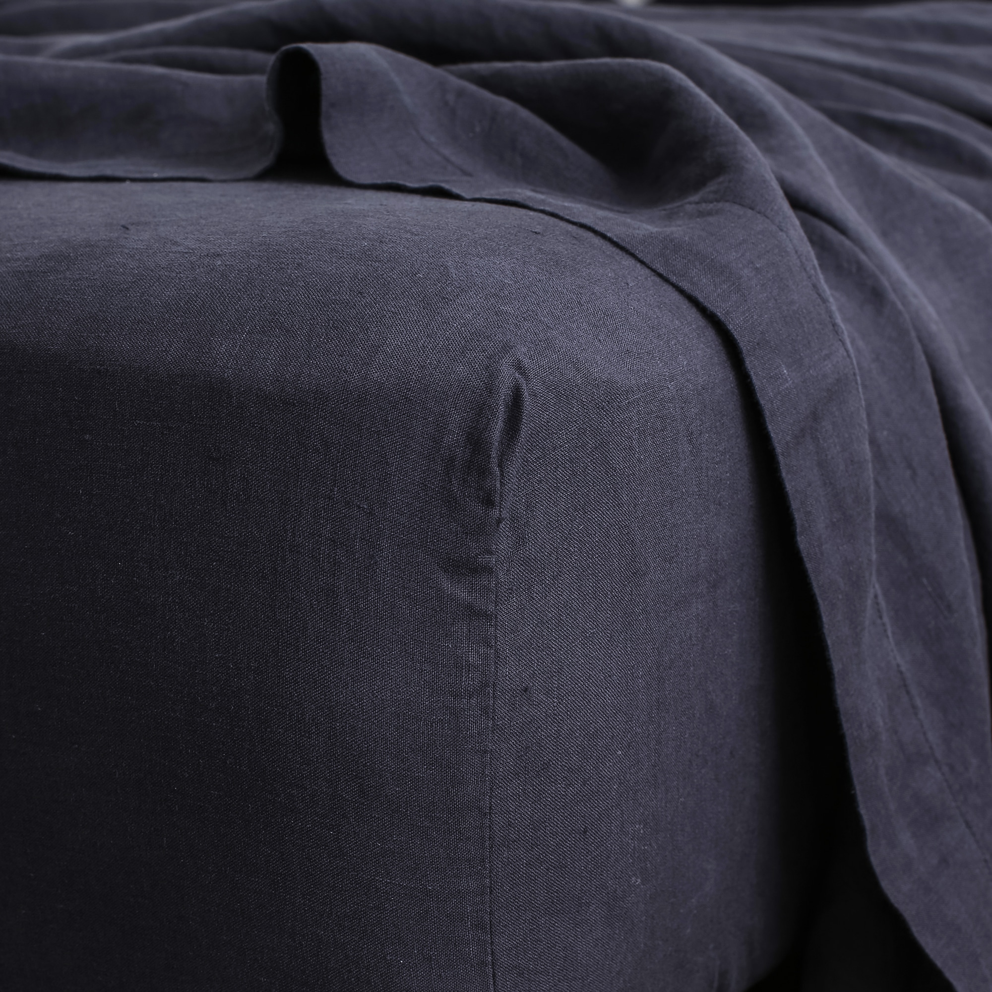 Navy fitted sheet detail from Monsoon Living Newcastle
