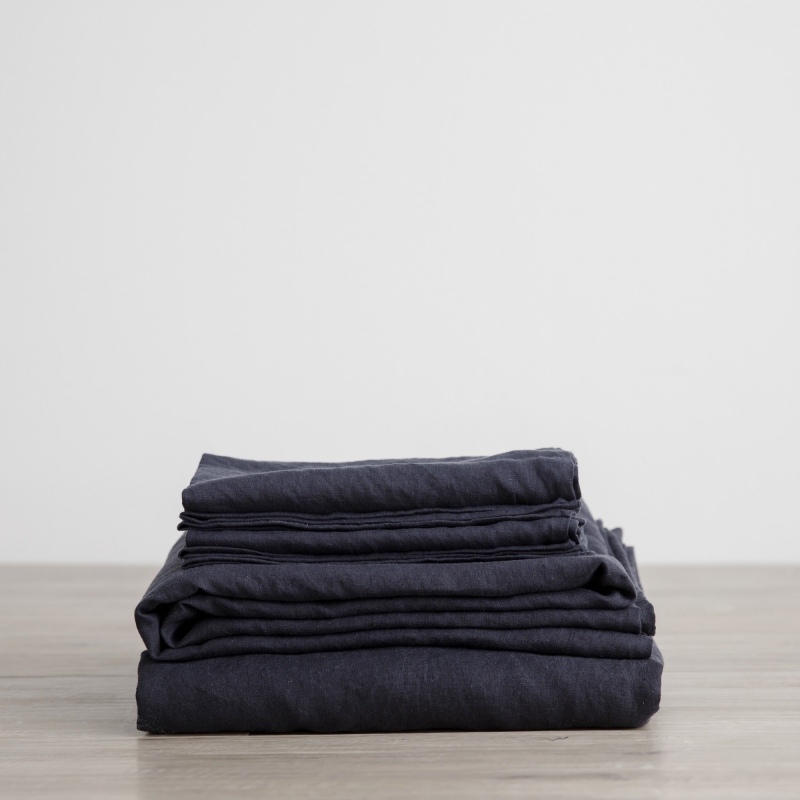 Navy sheet set folded from Monsoon Living Newcastle