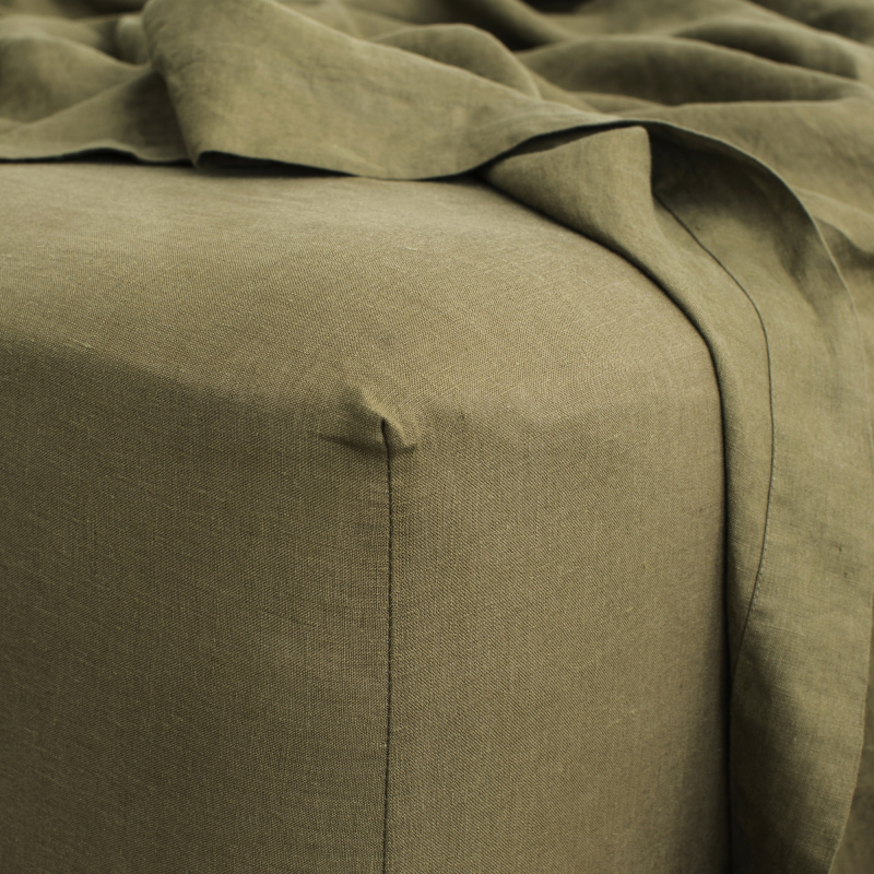 Olive fitted sheet detail from Monsoon Living Newcastle