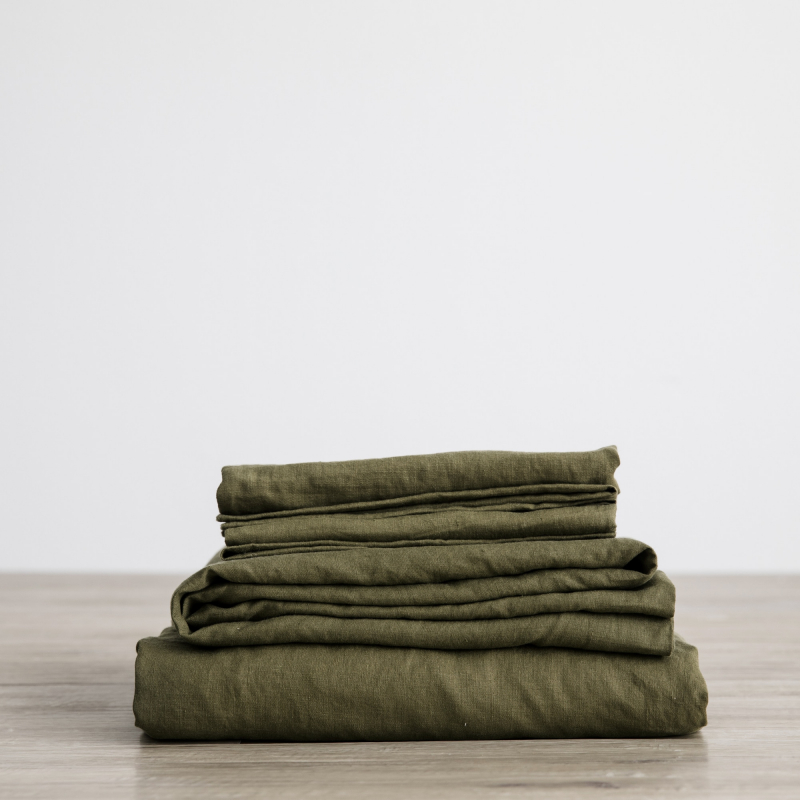 Olive sheet set folded from Monsoon Living Newcastle
