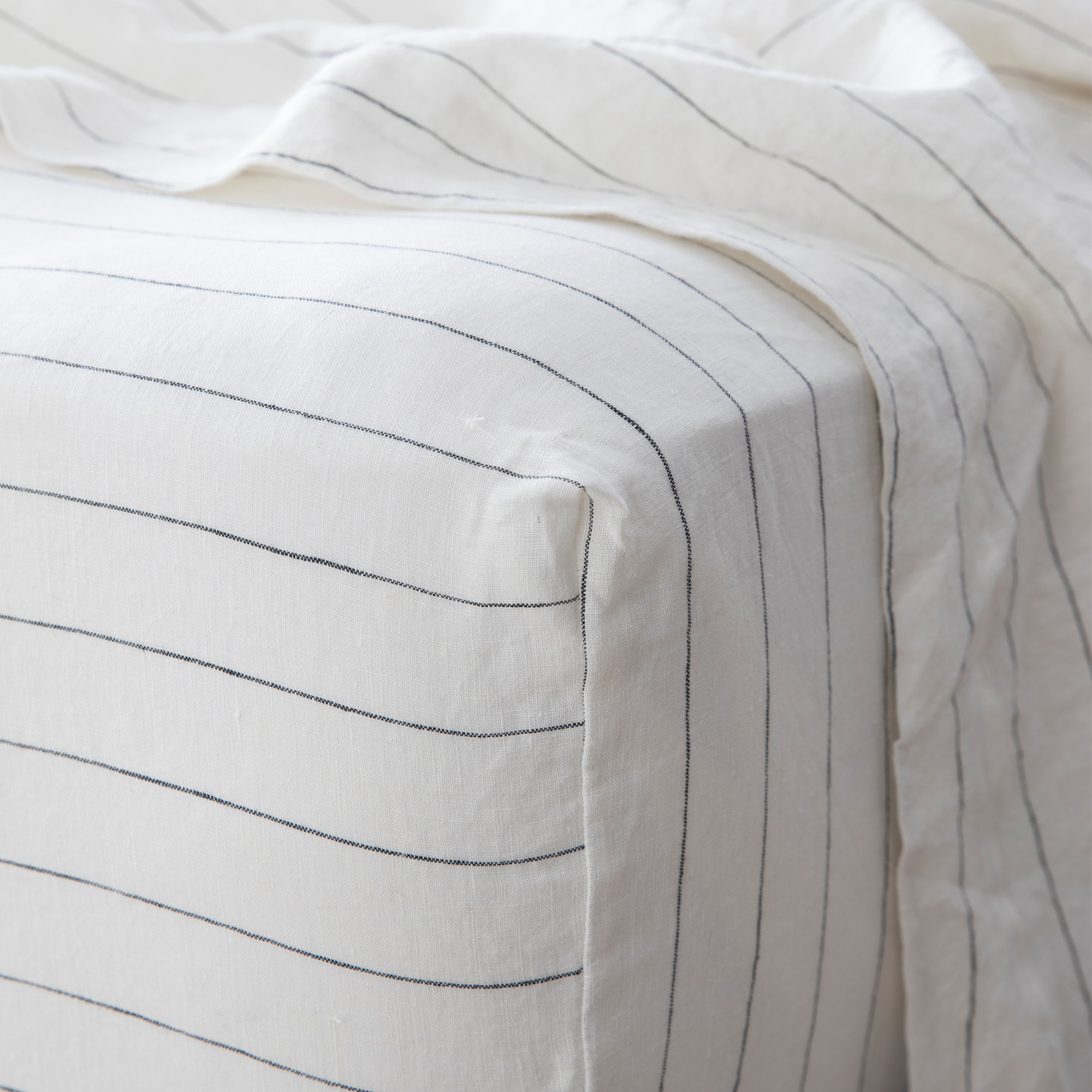 Pencil stripe fitted sheet detail from Monsoon Living Newcastle
