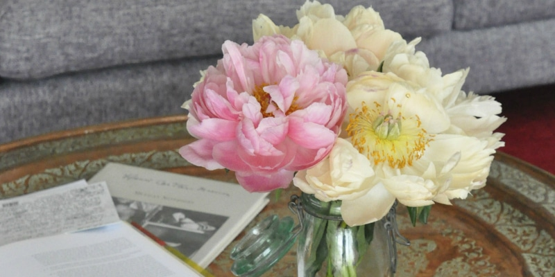 Flowers on a Turkish Coffee Table for the Monsoon Living Journal