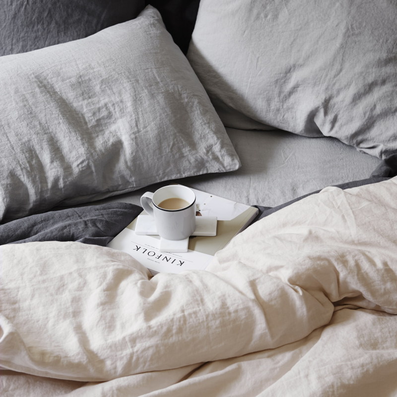 Messy smoke grey linen sheets from Monsoon Living Newcastle