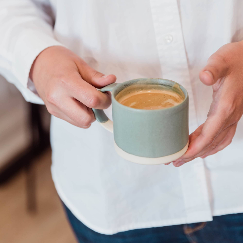 Handmade coffee cup with latte from Monsoon Living Newcastle