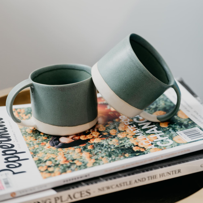 Handmade coffee mugs and Peppermint Magazine from Monsoon Living Newcastle