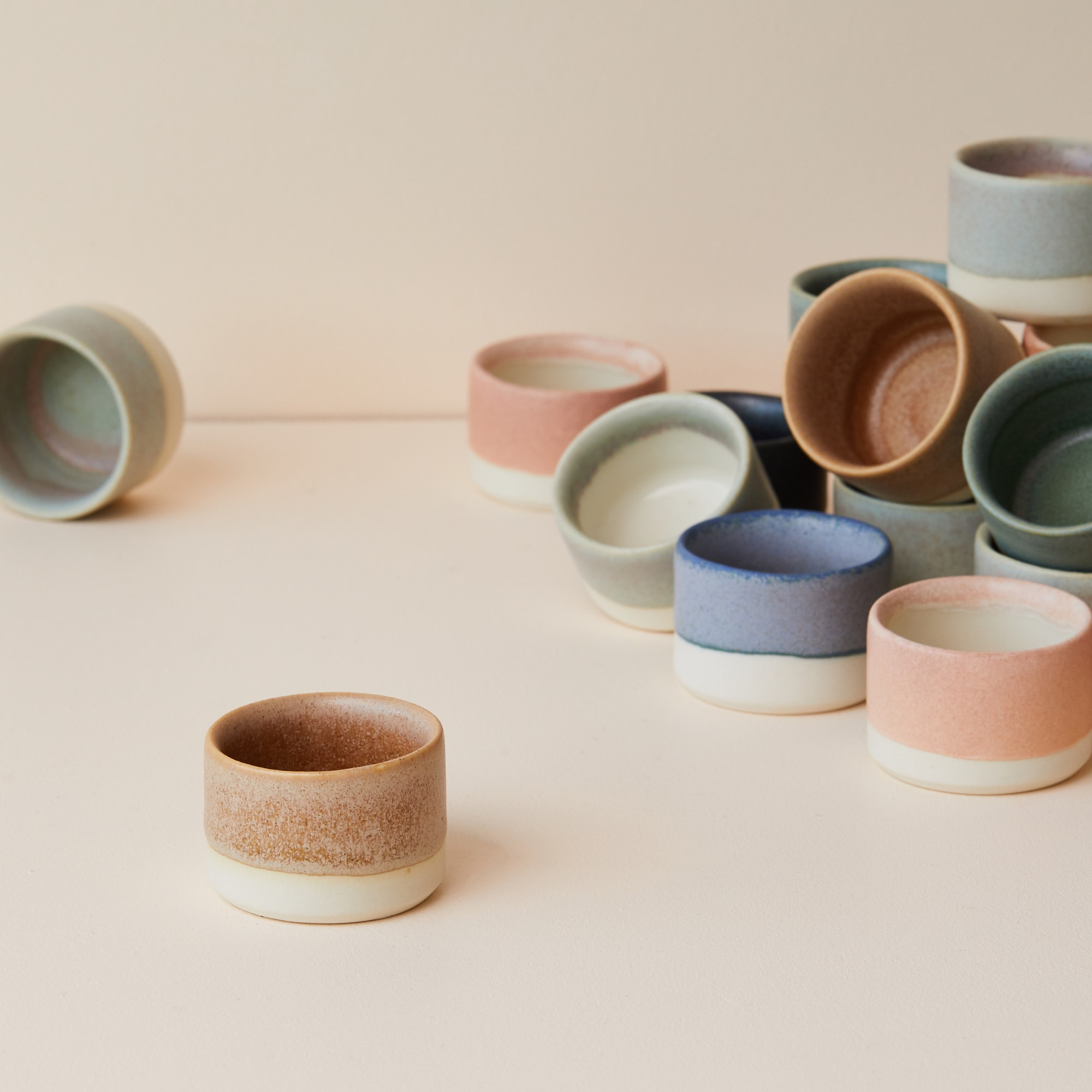 Handmade mini pots or pinch pots stacked from Monsoon Living Newcastle