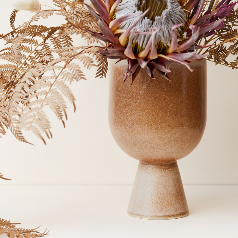 Ceramic vase and planter in a toffee glaze from Monsoon Living Newcastle