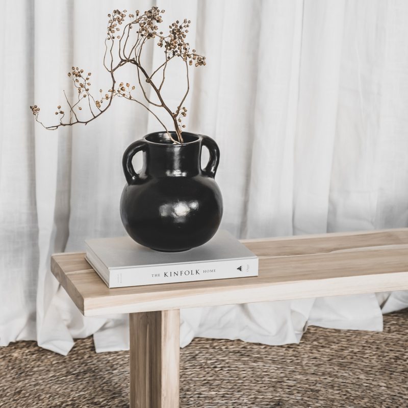Teak wood bench and kinfolk book from Monsoon Living Newcastle