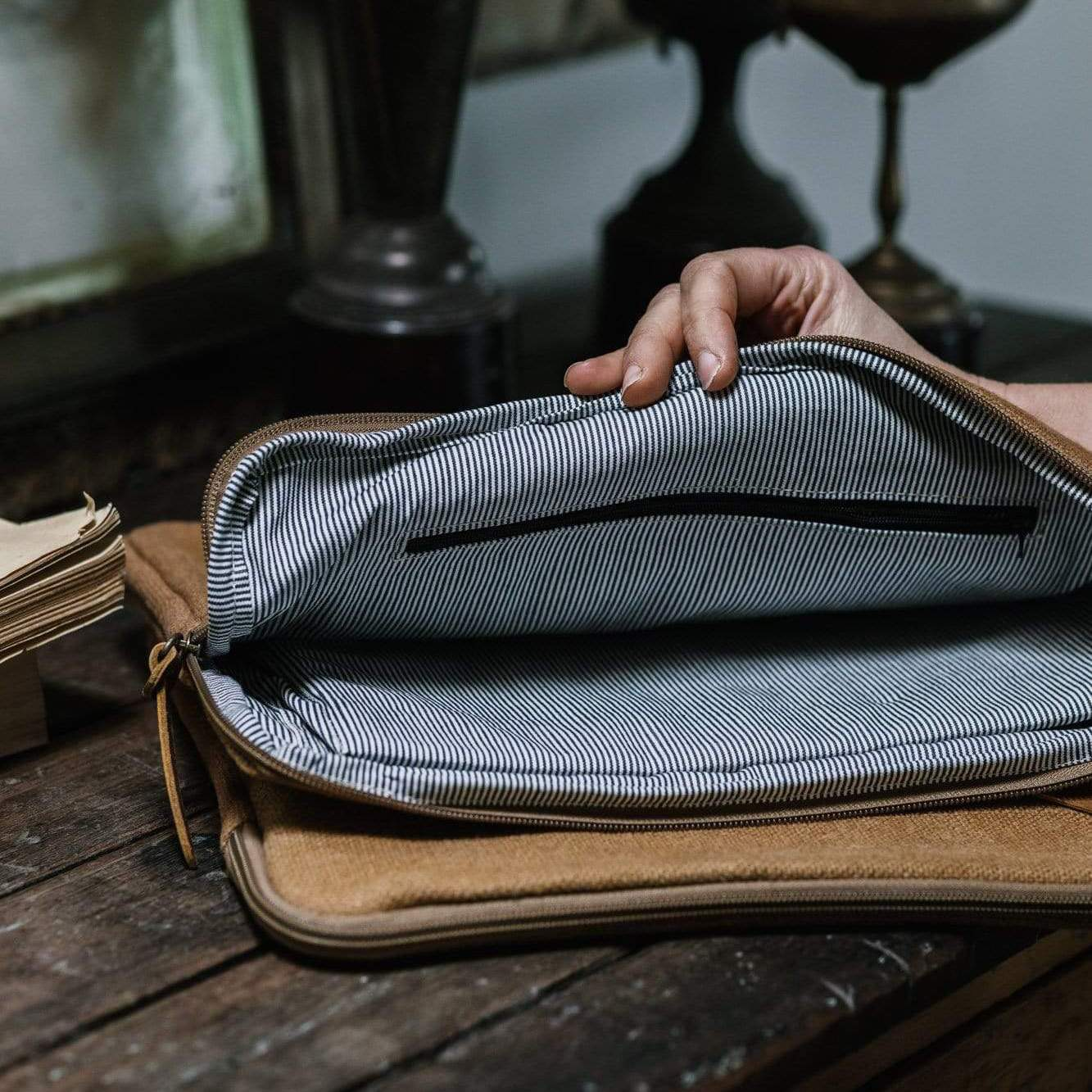 Camel coloured laptop bag with striped lining from Monsoon Living Newcastle