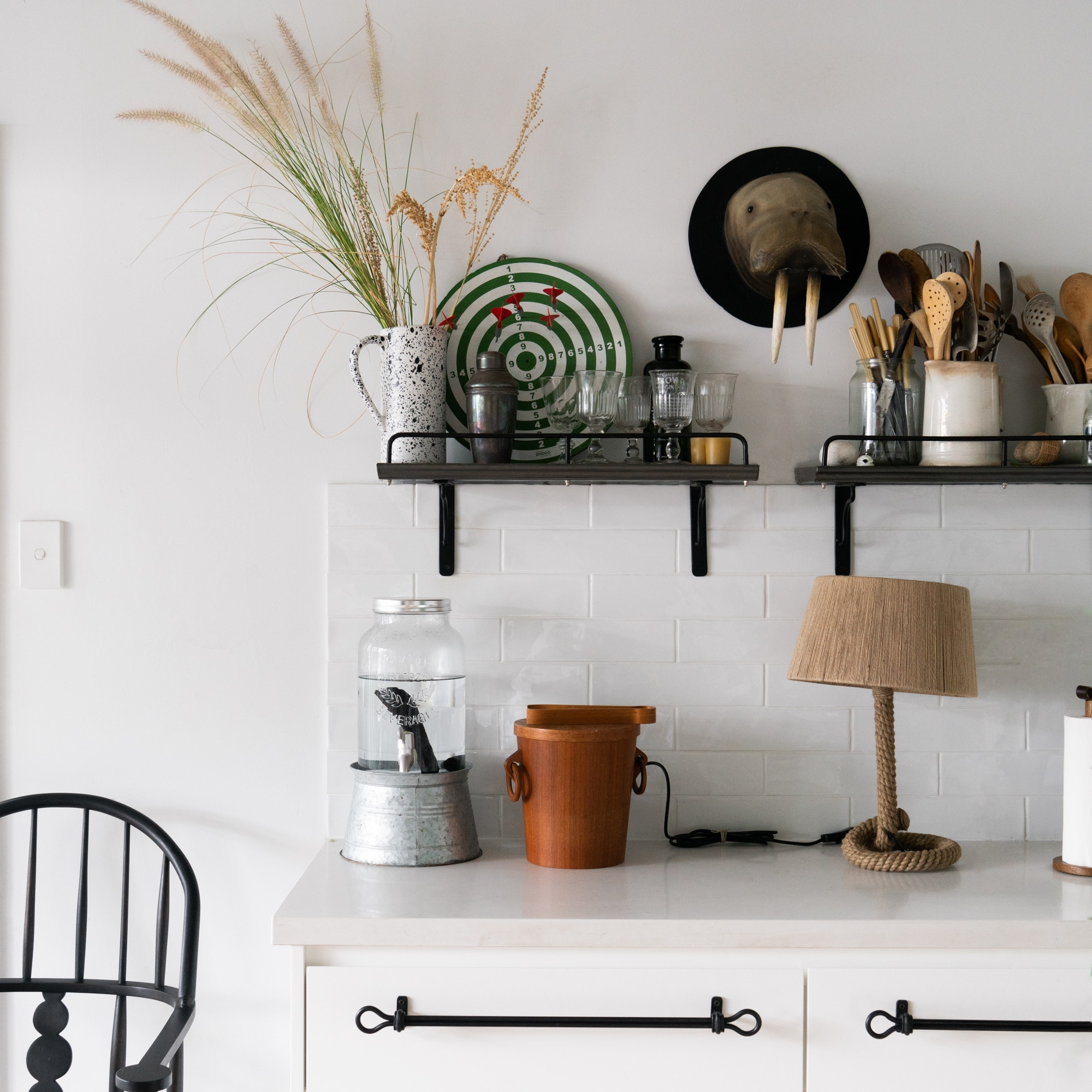 Rope lamp on the kitchen bench from Monsoon Living Newcastle