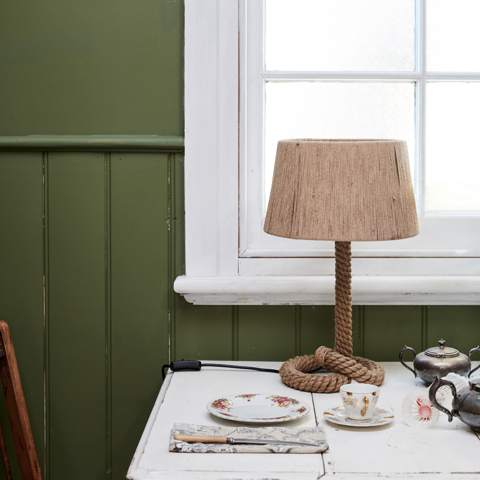 Rope lamp in the green cottage from Monsoon Living Newcastle