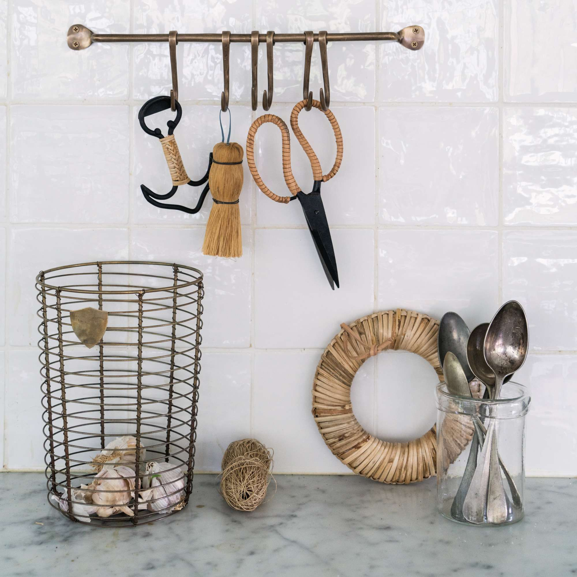 Brass wire basket in the kitchen from Monsoon Living Newcastle