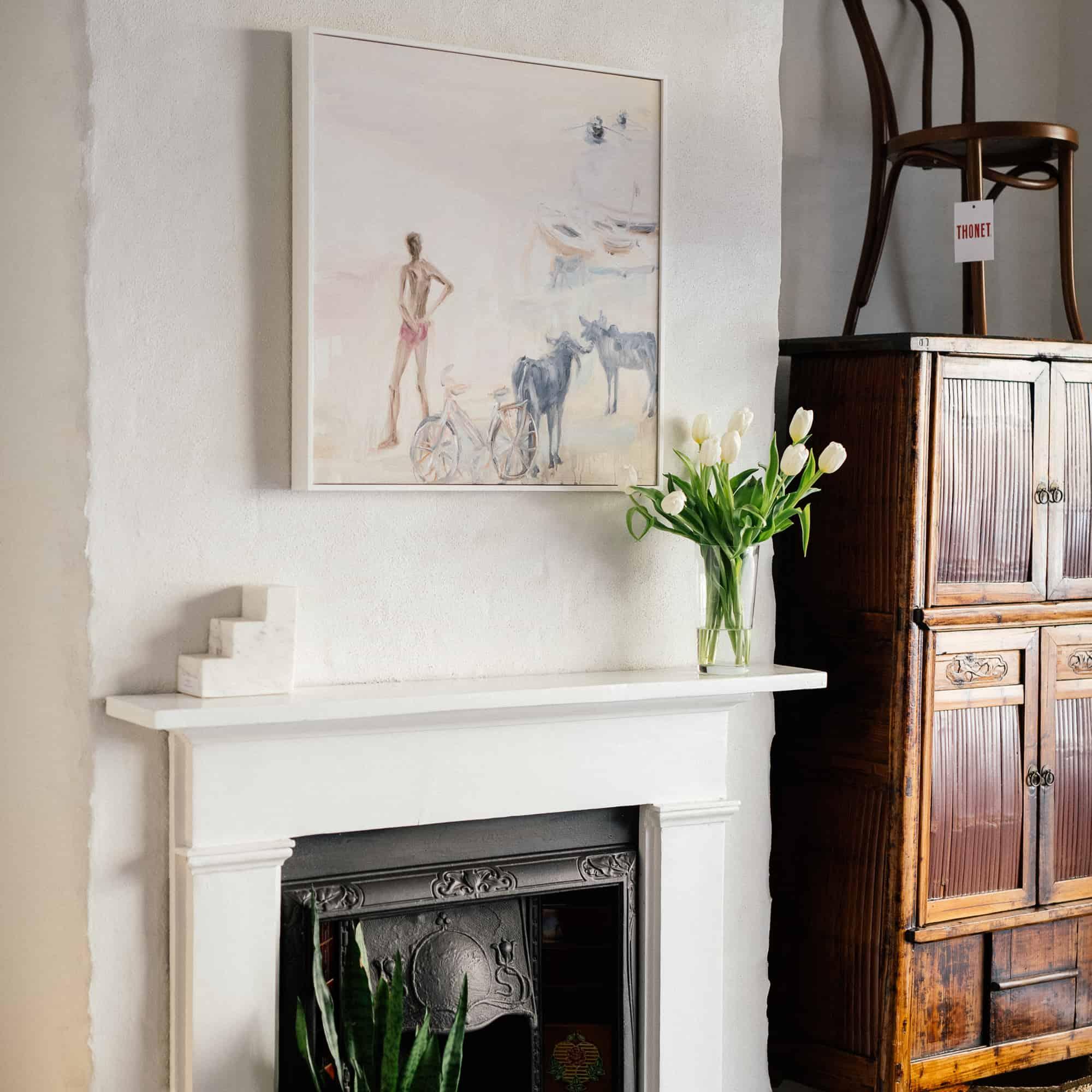 Jane Lander painting in-store at Monsoon Living Newcastle