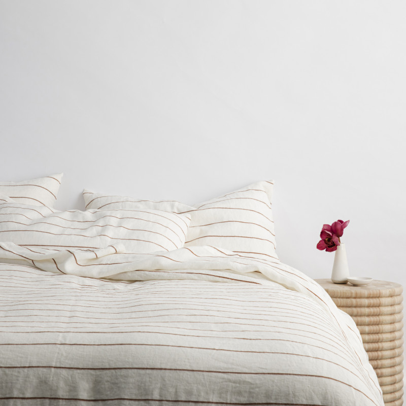 Cedar striped linen bed styled for Monsoon Living Newcastle