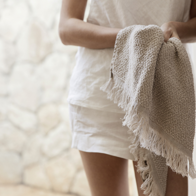 Natural linen hand towel from Monsoon Living Newcastle